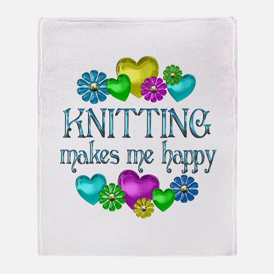 Knitting Happiness Throw Blanket