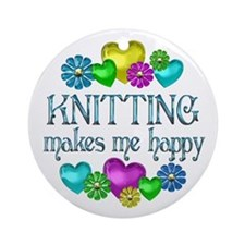 Knitting Happiness Ornament (Round)