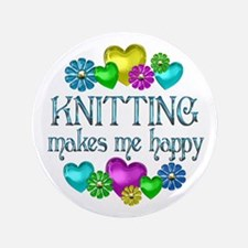 "Knitting Happiness 3.5"" Button"