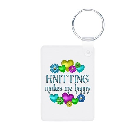 Knitting Happiness Aluminum Photo Keychain