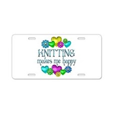 Knitting Happiness Aluminum License Plate