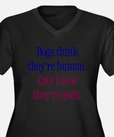 Dogs and Cats Women's Plus Size V-Neck Dark T-Shir