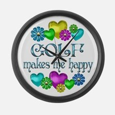 Golf Happiness Large Wall Clock