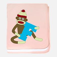 Sock Monkey Monogram Boy F baby blanket