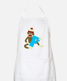 Sock Monkey Monogram Boy F Apron