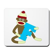 Sock Monkey Monogram Boy F Mousepad