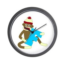 Sock Monkey Monogram Boy F Wall Clock