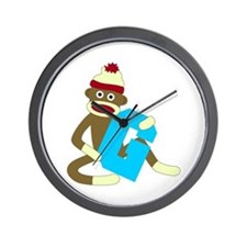 Sock Monkey Monogram Boy G Wall Clock