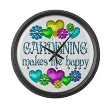 Gardening Happiness Large Wall Clock