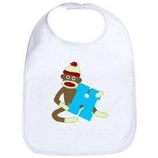 Sock Monkey Monogram Boy H Baby Bib