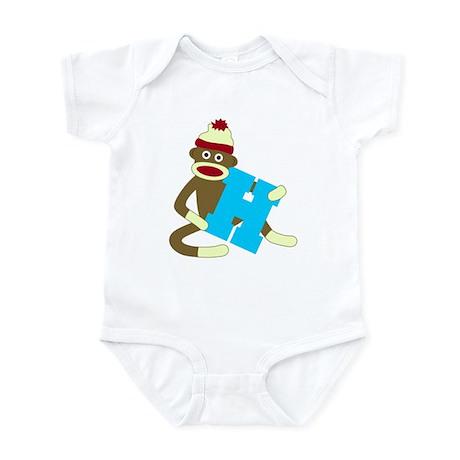 Sock Monkey Monogram Boy H Infant Bodysuit