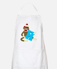 Sock Monkey Monogram Boy H Apron