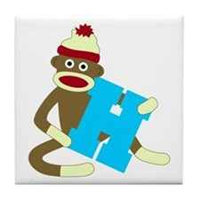 Sock Monkey Monogram Boy H Tile Coaster