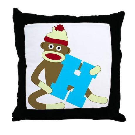Sock Monkey Monogram Boy H Throw Pillow