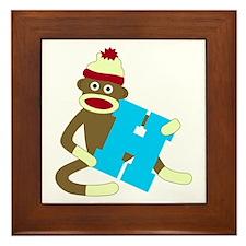 Sock Monkey Monogram Boy H Framed Tile