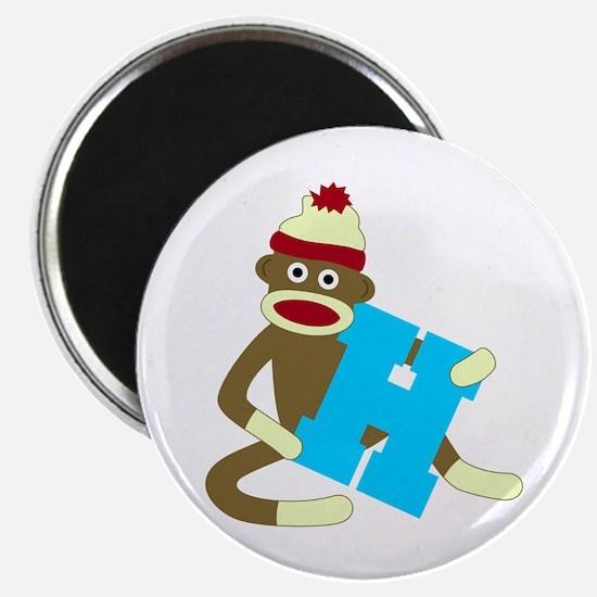 Sock Monkey Monogram Boy H Magnet