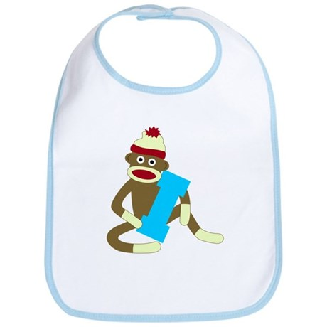 Sock Monkey Monogram Boy I Baby Bib