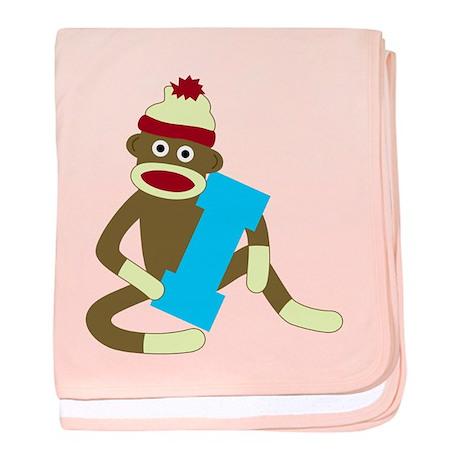 Sock Monkey Monogram Boy I baby blanket