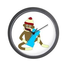 Sock Monkey Monogram Boy I Wall Clock