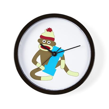 Sock Monkey Monogram Boy I Wall Clock