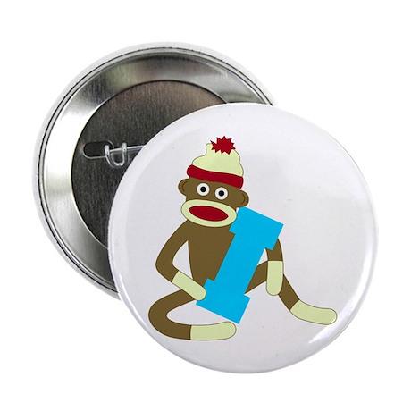 """Sock Monkey Monogram Boy I 2.25"""" Button"""