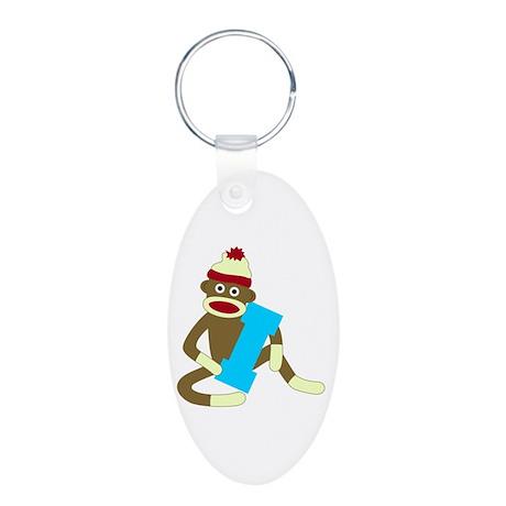 Sock Monkey Monogram Boy I Aluminum Oval Keychain
