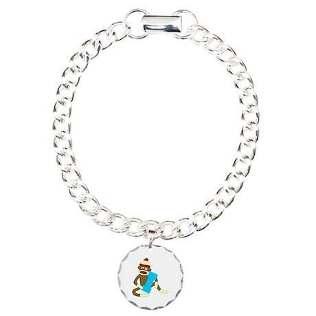 Sock Monkey Monogram Boy I Charm Bracelet