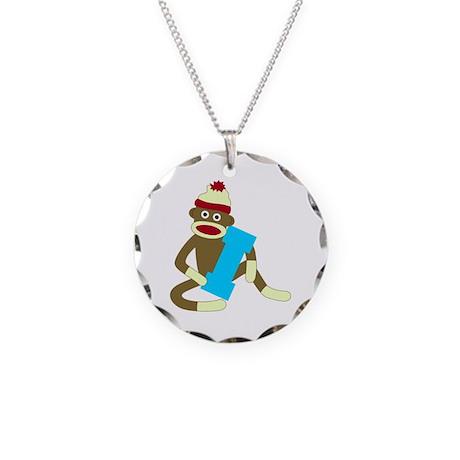 Sock Monkey Monogram Boy I Necklace Circle Charm