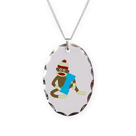 Sock Monkey Monogram Boy I Necklace Oval Charm