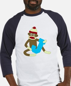 Sock Monkey Monogram Boy J Baseball Jersey