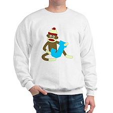 Sock Monkey Monogram Boy J Sweatshirt