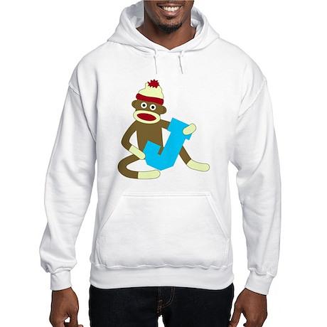 Sock Monkey Monogram Boy J Hooded Sweatshirt