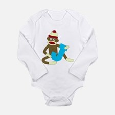 Sock Monkey Monogram Boy J Long Sleeve Bodysuit