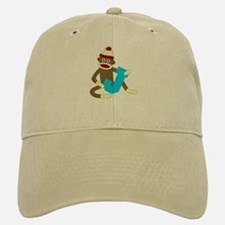 Sock Monkey Monogram Boy J Baseball Baseball Cap