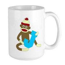 Sock Monkey Monogram Boy J Large Coffee Mug