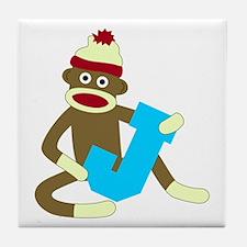 Sock Monkey Monogram Boy J Tile Coaster