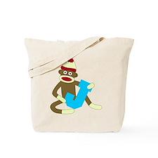 Sock Monkey Monogram Boy J Tote Bag