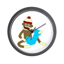 Sock Monkey Monogram Boy J Wall Clock