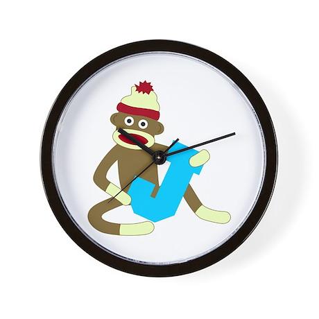 Sock Monkey Monogram Boy J Wall Clock