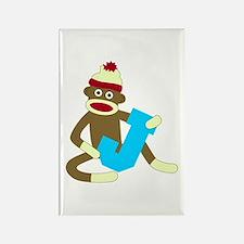 Sock Monkey Monogram Boy J Rectangle Magnet