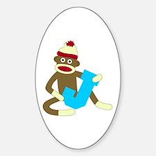 Sock Monkey Monogram Boy J Decal