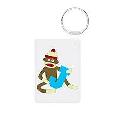 Sock Monkey Monogram Boy J Keychains