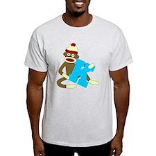 Sock Monkey Monogram Boy K T-Shirt
