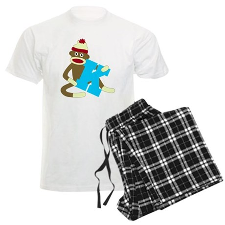 Sock Monkey Monogram Boy K Men's Light Pajamas