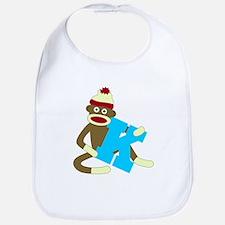 Sock Monkey Monogram Boy K Baby Bib