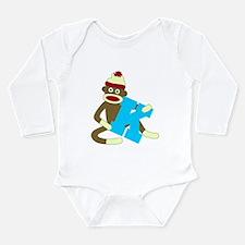 Sock Monkey Monogram Boy K Long Sleeve Bodysuit