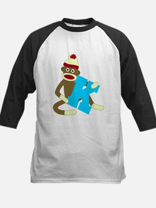 Sock Monkey Monogram Boy K Kids Baseball Jersey