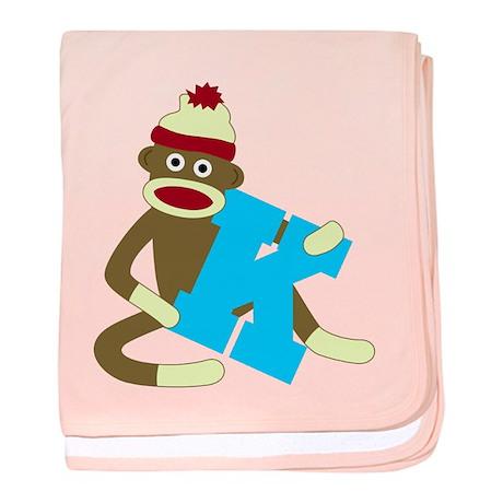 Sock Monkey Monogram Boy K baby blanket