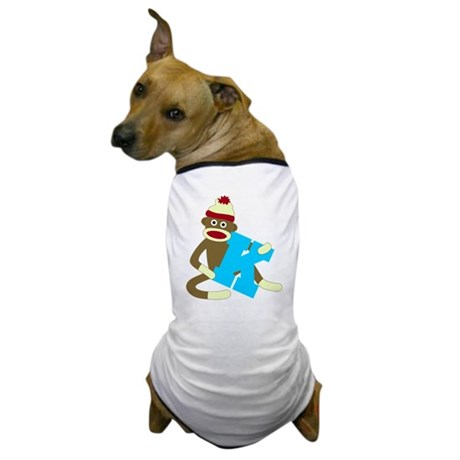 Sock Monkey Monogram Boy K Dog T-Shirt