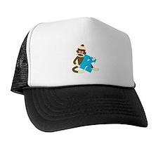 Sock Monkey Monogram Boy K Trucker Hat